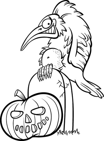 dreadful: Black and White Cartoon Illustration of Spooky Raven or Crow on the Grave with Halloween Pumpkin for Coloring Book