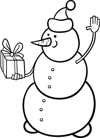 Black and White Cartoon Illustration of Snowman as Santa Claus Character with Christmas Present or Gift for Coloring Book Vector