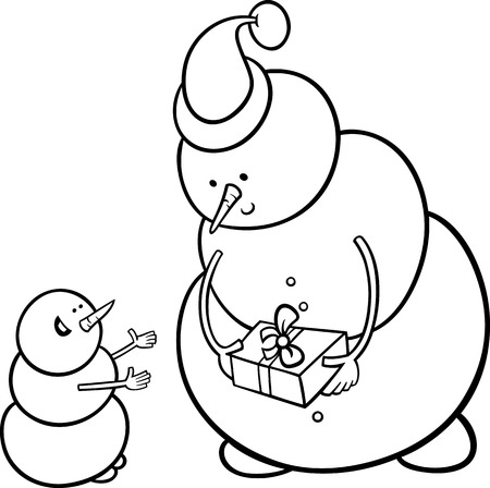 Black and White Cartoon Illustration of Snowman as Santa Claus Character giving Christmas Present or Gift to Little One for Coloring Book Vector