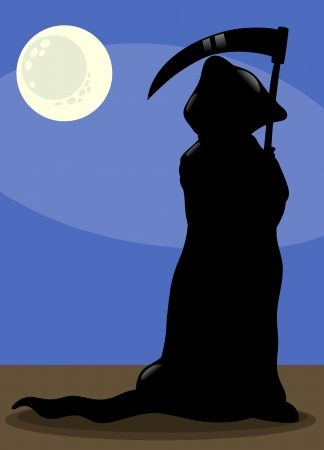 guadaña: Ilustración de la historieta de la silueta fantasmagórica de la muerte de Halloween en el claro de luna