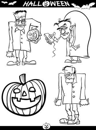 Cartoon Illustration Von Black And White Halloween Themen Für ...