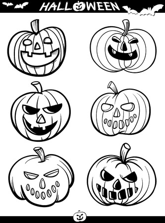 coloring book pages: Cartoon Illustration of Black and White Halloween Themes Set for Coloring Book or Page