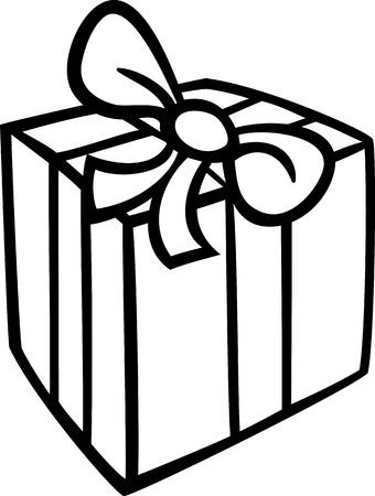 COLOURING: Black and White Cartoon Illustration of Christmas or Birthday Present or Gift Object Clip Art for Coloring Book