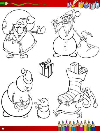 papa noel navidad: Coloring Book o p�gina de dibujos animados de blanco y negro Temas de Navidad Conjunto con Santa Claus o Papa Noel y regalos de Navidad y decoraciones para ni�os Vectores