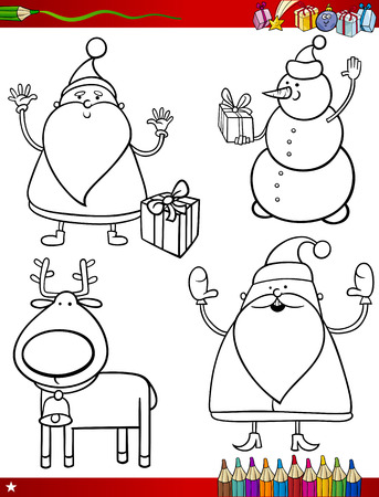 Coloring Book or Page Cartoon Illustration of Black and White Christmas Themes Set with Santa Claus or Papa Noel and Xmas Presents and Decorations for Children Vector