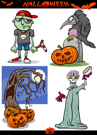 Cartoon Illustration of Halloween Holiday Themes like Pumpkins or Zombie and Skeleton or Graves Vector
