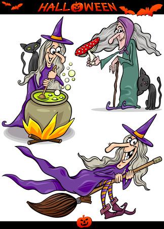 brujas caricatura: Ilustración de dibujos animados de Halloween de vacaciones Temas como la bruja en la escoba o el Gato Negro Vectores