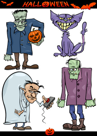 Cartoon Illustration of Halloween Holiday Themes like Evil Scientist or Zombie or Frankenstein Vector