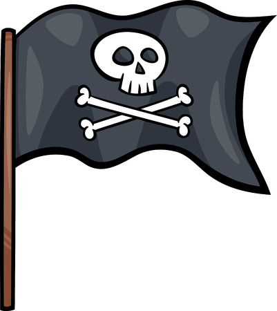 pirate flag: Cartoon Illustration of Pirate Flag with Skull and Bones or Jolly Roger Object Clip Art
