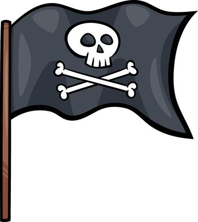 drapeau pirate: Illustration de bande dessinée de drapeau de pirate avec le crâne et les os ou Jolly Roger objet Clip Art