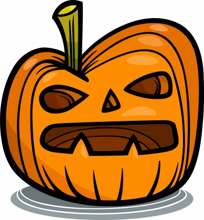 dreadful: Cartoon Illustration of Spooky Halloween Pumpkin Clip Art Illustration