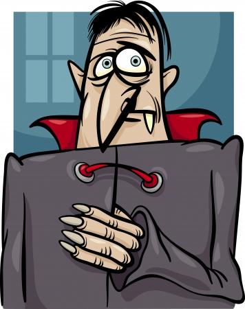 dreadful: Cartoon Illustration of Spooky Halloween Vampire or Dracula