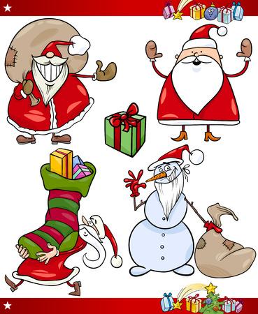pere noel: Illustration de dessin animé de Santa Claus ou Papa Noël, cadeaux, cadeaux de Noël et d'autres thèmes mis en Illustration