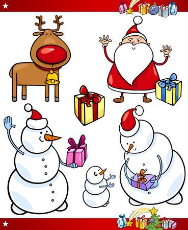 papa noel: Cartoon Illustration of Santa Claus or Papa Noel, Presents, Gifts and other Christmas Themes set Illustration