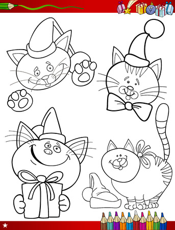 papa noel: Coloring Book or Page Cartoon Illustration of Black and White Christmas Themes Set with Santa Claus or Papa Noel and Xmas Presents and Decorations for Children
