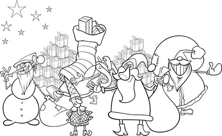Black and White Cartoon Illustration of Santa Claus Group with Presents and Snowman and other Christmas Characters for Coloring Book Vector