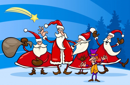 Cartoon Illustration of Santa Claus Group with Elf Christmas Characters