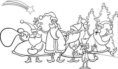 Black and White Cartoon Illustration of Santa Claus Group with Elf Christmas Characters for Coloring Book Vector