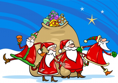 Cartoon Illustration of Santa Claus Group Christmas Characters with Big Sack of Gifts Vector