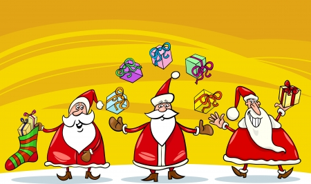 papa noel: Cartoon Illustration of Santa Claus Characters Group with Christmas Presents or Gifts