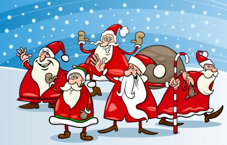 Cartoon Illustration of Santa Claus Characters Group at Christmas Eve Vector