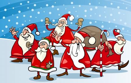 papa noel: Cartoon Illustration of Santa Claus Characters Group at Christmas Eve Illustration