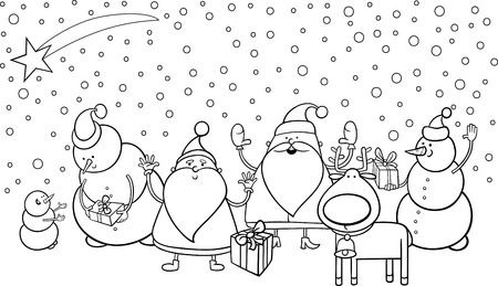 Black and White Cartoon Illustration of Santa Claus Characters Group with Snowman and Reindeer for Coloring Book Vector