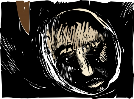 spooky eyes: Artistic Drawing Illustration of Man Face in the Darkness