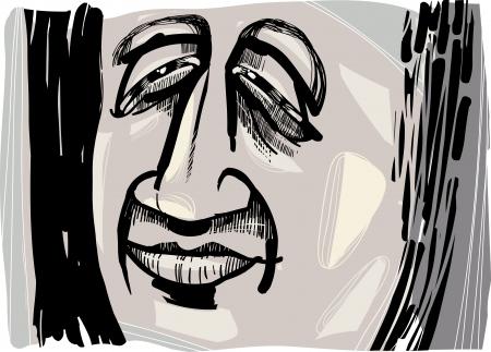 Dibujo Artístico Ilustración De Sad Man Perfil En La Oscuridad