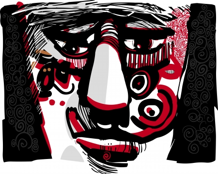 scary eyes: Artistic Drawing Illustration of Tribal Man Face with Ethnic Tattoos