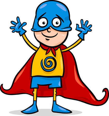 costumes: Cartoon Illustration of Cute Little Boy in Superhero Costume for Fancy Ball Illustration