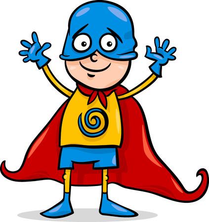 Cartoon Illustration of Cute Little Boy in Superhero Costume for Fancy Ball Illustration