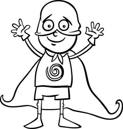 Black and White Cartoon Illustration of Cute Little Boy in Superhero Costume for Fancy Ball for Coloring Book Vector
