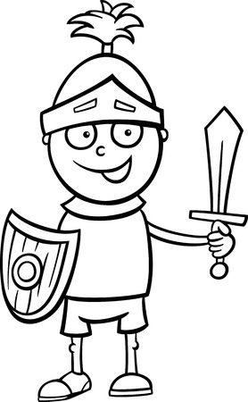 Black and White Cartoon Illustration of Cute Little Boy in Knight Costume for Fancy Ball for Coloring Book Illustration