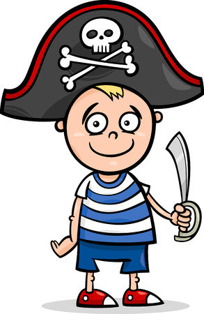 cute cartoon boy: Cartoon Illustration of Cute Little Boy in Pirate Costume for Fancy Ball