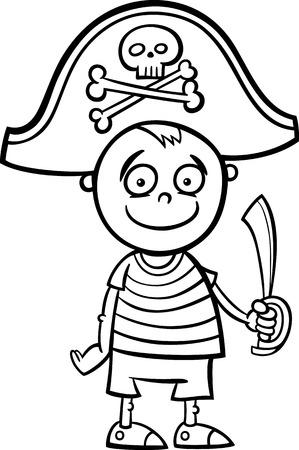 Blanco y Negro Ilustración de dibujos animados de Cute Little Boy en traje de pirata para baile de disfraces de dibujos