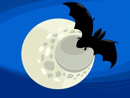 dreadful: Cartoon Illustration of Spooky Halloween Vampire Bat in the Moonlight Illustration