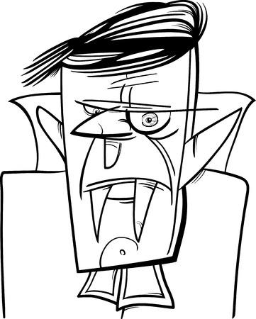 dreadful: Black and White Cartoon Illustration of Creepy Halloween Vampire or Dracula