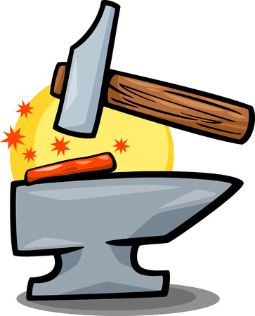 anvil: Cartoon Illustration of Smith Hammer Tool and Anvil with Red Hot Iron Clip Art