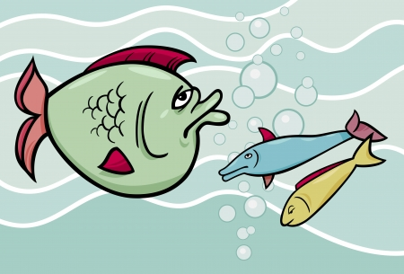 bloated: Concept Cartoon Illustration of Big Fish in the Sea Illustration