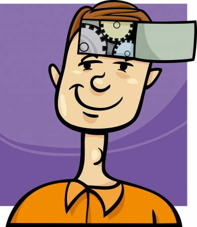 ingenious: Concept Cartoon Illustration of Clever Young Man with Cogs in his Head