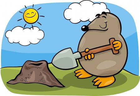 Cartoon Illustration of Funny Cute Mole with Shovel