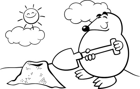 mounds: Black and White Cartoon Illustration of Funny Cute Mole with Shovel for Coloring Book
