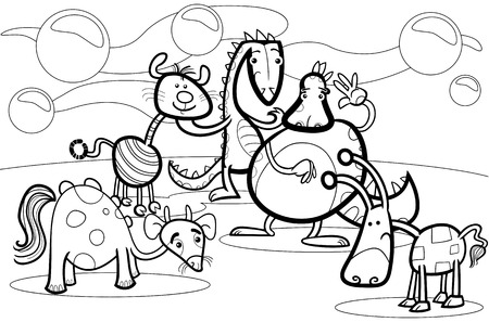 Black and White Cartoon Illustrations of Fantasy Creatures Comic Mascot Characters Group for Children for Coloring Book Vector