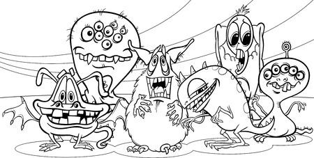 colouring pages: Blanco y Negro Ilustraci�n de la historieta de la fantas�a Monsters o grupo sustos de Halloween para colorear Libro