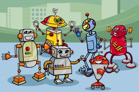 Cartoon Illustration of Funny Robots or Droids Group Vector