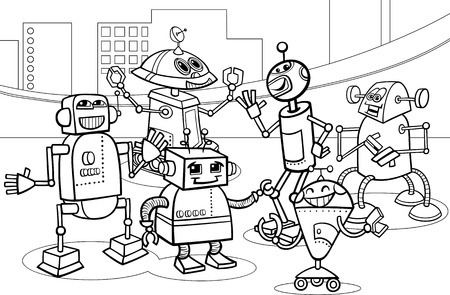 Black and White Cartoon Illustration of Funny Robots or Droids Group for Coloring Book Vector