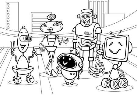 comic book character: Black and White Cartoon Illustration of Funny Robots or Droids Group for Coloring Book