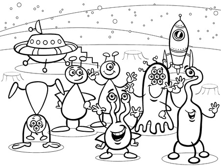 Black and White Cartoon Illustrations of Fantasy Aliens or Martians Comic Mascot Characters Group for Coloring Book Vector