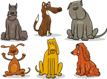 spotted dog: Cartoon Illustration of Cute Dogs or Puppies Pet Set